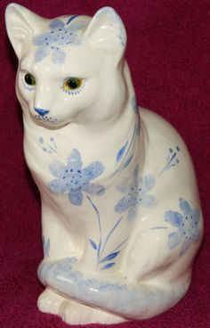 Large Cat Figurine with glass eyes - Made in Wales