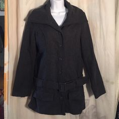 Bebe Wool Coat Gray sz M Cute Spring Belted Long Awesome jacket, no issues, gently worn -  Let's be friends! Add me on Instagram @OrnamentalStone and @ShopJadedAndTraded Facebook Group: Jaded And Traded Pinterest: Ornamental Stone  and add my board Jaded And Traded Clothes For Sale ****I follow back! :)**** bebe Jackets & Coats