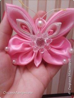 Поделка изделие Моделирование конструирование Цумами Канзаши Розовая бабочка Бусины Клей Ленты фото 1