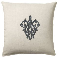 Insignia Linen Cushion Cover, square, featuring an appliqued velvet insignia in mid blue on a natural linen base. Luxury Cushions, Velvet Cushions, Scatter Cushions, Throw Pillows, Velvet Color, Natural Linen, Soft Furnishings, Cushion Covers