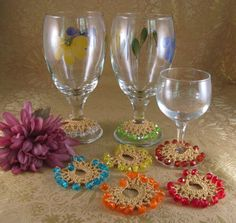 Wine Glass Charms, Hand Crocheted with Beads