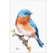Bluebird Original Watercolor Painting Blue Bird Watercolor 5