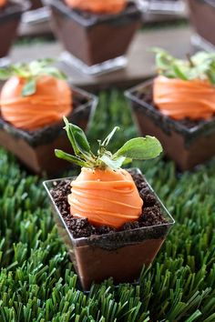 Carrot Patch Dirt Pudding Cups | These would be so cute on an Easter dessert table, especially because of the tiny individual cups I used, but you could also use any small dessert glasses you have on hand. Happy Spring! @ericasweettooth