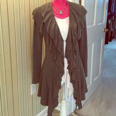 Long ruffle front sweater Long ruffle front sweater, gray, hand wash/dry flat Sweaters