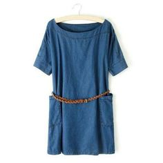 Oversized Brief Double Pockets Denim Shift Dress