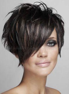 short haircut with long bangs
