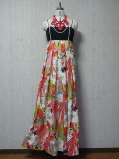 Vintage Girls Kimono Remake Back Ribbon Maxi Dress Boho Kimono, Kimono Fabric, Kimono Dress, Kimono Fashion, Diy Fashion, Fashion Dresses, Vintage Kimono, Cute Kimonos, Diy Clothes Refashion