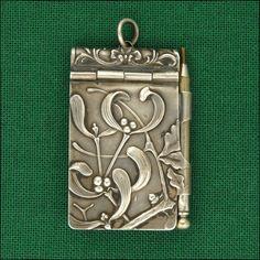 French Art Nouveau Silver Mistletoe Chatelaine Aide Mémoire Note Book
