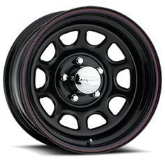 Wheel Daytona Steel Wheel - - Bolt Pattern - Backspacing -Gloss Black with Red and Blue Pinstripes - 4x4 Tires, Cheap Wheels, Rims For Sale, Wheel Logo, Types Of Steel, Motorcycle Wheels, Aftermarket Wheels, Truck Wheels, Chrome Wheels