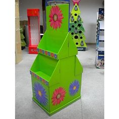 China 2 tier colorful graphic cardboard display stands / POP display racks for exhibit, shop suppliers