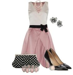 Pink & White Dress with Polka Dot Purse & Flowered Earrings