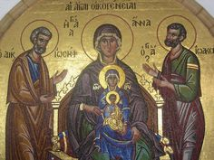 Icon from Kykkos Monastery in Cyprus. It shows of St. Anna , the Virgin Mary, and the Baby Jesus. It also shows the Men of Family - St. Joachim and St. Joseph.