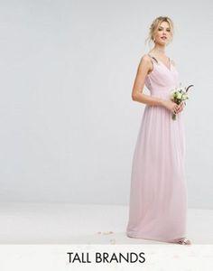 1f10e66a78 TFNC Tall Wedding Wrap Front Maxi Dress With Embellishment Maxi Bridesmaid  Dresses