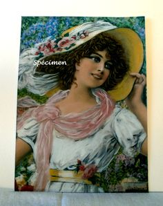 Tableau portrait femme romantique bohème - création avec Pastel Sec (craie) ° CONSTANCE ° : Peintures par diva-divine