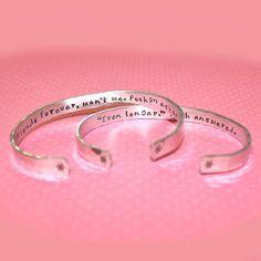 Best Friend Gift - Friendship Secret Message Personalized Custom Hand Stamped Aluminum Cuff Bracelet Set by Korena Loves