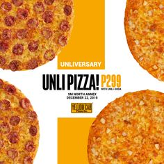 Take a break from the holiday stress and join the UNLIVERSARY celebration with Yellow Cab SM North Annex UNLI Pizza Promo on Dec 22 ONLY Pizza Art, Pizza Menu, Promo Pizza, Food Menu Design, Holiday Stress, Food Branding, Logo Design, Graphic Design, Creative Advertising