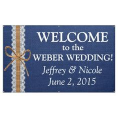 Rustic Navy Blue Burlap Wedding Banner
