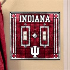 Indiana Hoosiers Light Switch Double Art Glass Cover