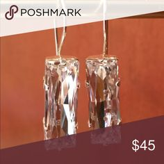Crystal Rectangle Swarovski Earrings 24x8mm crystal Swarovski dangle earrings! Beautiful shape and color! A classic cut to treasure forever! Swarovski Jewelry Earrings
