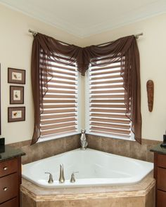 treatments for corner windows over tub - Google Search
