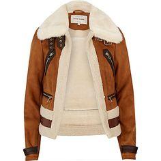 Brown faux suede shearling aviator coat £75.00