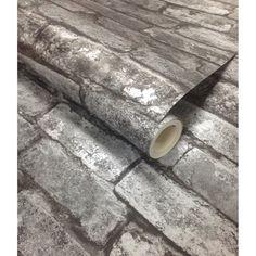 Fine Decor Rustic Brick Wallpaper Black / Charcoal (FD31284) - Fine Decor from I love wallpaper UK