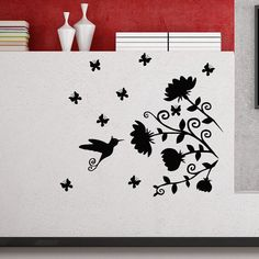 Flower Mural, Flower Wall Decals, Flower Bird, Gerbera, Vinyl Wall Art, Vinyl Decals, Etched Mirror, Wall Painting Decor, Fall Mantel Decorations
