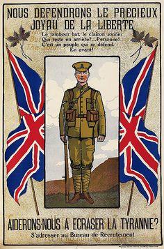 """WWI French-Canadian recruitment poster """"Nous défendrons le précieux joyau de la Liberté""""."""