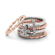 Romantic Faith Set of Six Stackable Rings Gift Pa ($463.96)