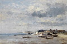 E. Seago, oil -  Beach Scene on the Suffolk Coast