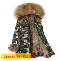 MaoMaoKong Real Fur Coats For Women raccoon Fur parka Lining raccoon Fur coat Large Fur Parkas For Women Winter Jackets