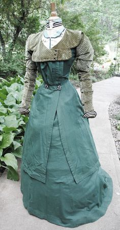 1890's Walking suit, green flannel with sage velvet collar and sleeves