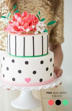 cake coral mint polka dots kate spade iinspired - Google Search