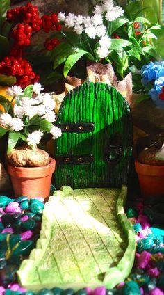 Fairy Door plus small pathway -Fairy Garden - Outside Garden Sculpture -Die stone cast on Etsy, $24.50