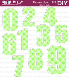 INSTANT DOWNLOAD  Green Polka Dot Numbers Clip Art by PaperArtbyMC, $4.99