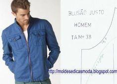 MOLDE BASE JUSTA DE BLUSÃO TAMANHO 38 ~ Moldes Moda por Medida