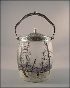 Legras French Cameo Enamel Winter Scene Biscuit Jar -  Cracker Jar    Circa 1900