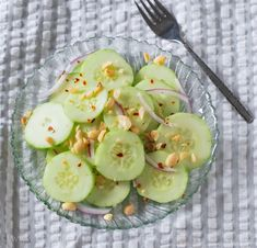 The simplest, yet MOST delicious salad ever! Spicy cucumber and peanuts.