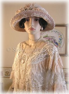 Peaches and cream vintage lace dress and Edwardian/1920s hat by savannahparker.com