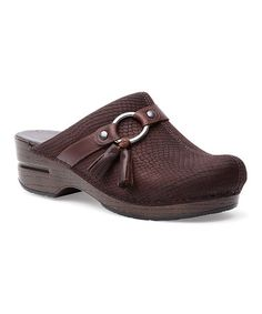 Loving this Brown Snake-Embossed Shandi Leather Clog on #zulily! #zulilyfinds