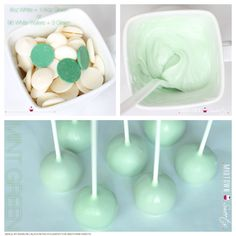 37 Ideas Cake Pops Recipe Without Candy Melts Chocolate Candy Melts, Chocolate Pops, Melting Chocolate, White Chocolate, Baby Shower Kuchen, Baby Shower Cake Pops, Mint Green Cakes, Green Desserts, Color Menta