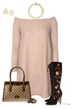 """Look at those boots!!"" by ksims-1 ❤ liked on Polyvore featuring Glamorous, Jimmy Choo, Gucci, Kenneth Jay Lane and Michael Kors"