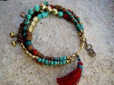 Turquoise / Trade Beads / Bohemian Bracelet / Gypsy / Boho / Gypsy Jewelry / Ethnic / Tassel Bracelet / Dragonfly Charm Bracelet via Etsy