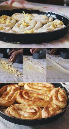 "Recipe for ""Sirnica"", Bosnian Cheese Pie.   http://europeblogtalk.wordpress.com/2012/12/11/sneaking-into-a-bosnian-kitchen-bosnian-sirnica-pie-recipe-and-making-perfect-phyllo-dough/"