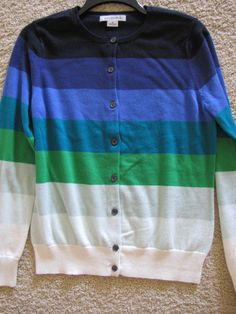 LIZ CLAIBORNE Navy Purple Multi Striped Cardigan Sweater Size Medium Ret $50 NWT #LizClaiborne #Cardigan