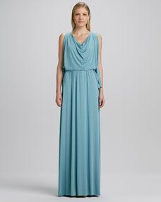Birdie Draped Grecian Maxi Dress, Womens