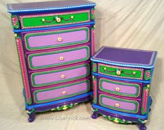 SOLD sample of CUSTOM WORK- Dresser and Night stand- Custom Hand Painted…