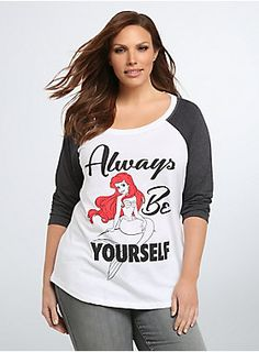 """<p>A white tee with sporty grey raglan sleeves fulfills every girl's dream! A cool graphic of Ariel sitting pretty is framed by the quote: """"Always be yourself,"""" while the back drops a truth bomb with: """"Unless you can be a mermaid.""""</p>  <p></p>  <p><b>Model is 5'9.5"""", size 1</b></p>  <ul> <li>Size 1 measures 29 1/2"""" from shoulder</li> <li>Cotton/polyester</li> <li>Wash cold, dry low</li> <li>Imported plus size tee</li> </ul>"""