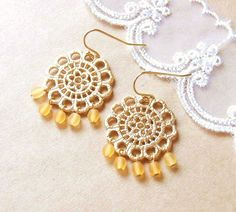 Happy Sunflower Earrings . gold flower pendant and yellow czech beads by CocoroJewelry on Etsy