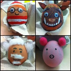 The Book People decorated eggs as famous book characters! Maybe a book project next year? Easter Arts And Crafts, Egg Crafts, Book Crafts, World Book Day Activities, World Book Day Ideas, Famous Book Characters, Easter Bonnets For Boys, Easter Egg Designs, Easter Ideas